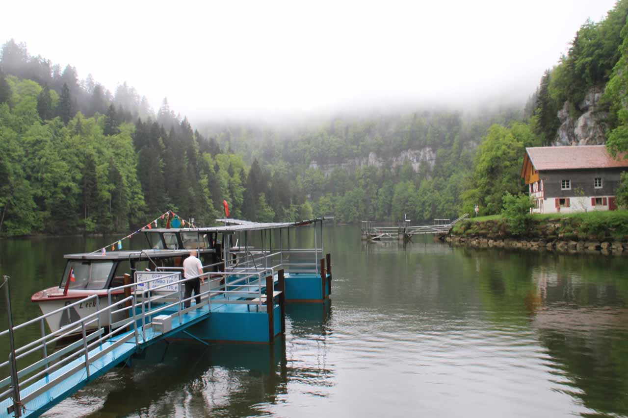The boat dock at the Saut du Doubs hamlet