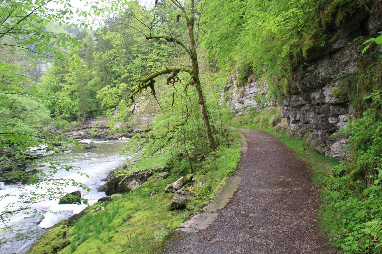 On the walkway to the brink of Saut du Doubs on the Swiss side