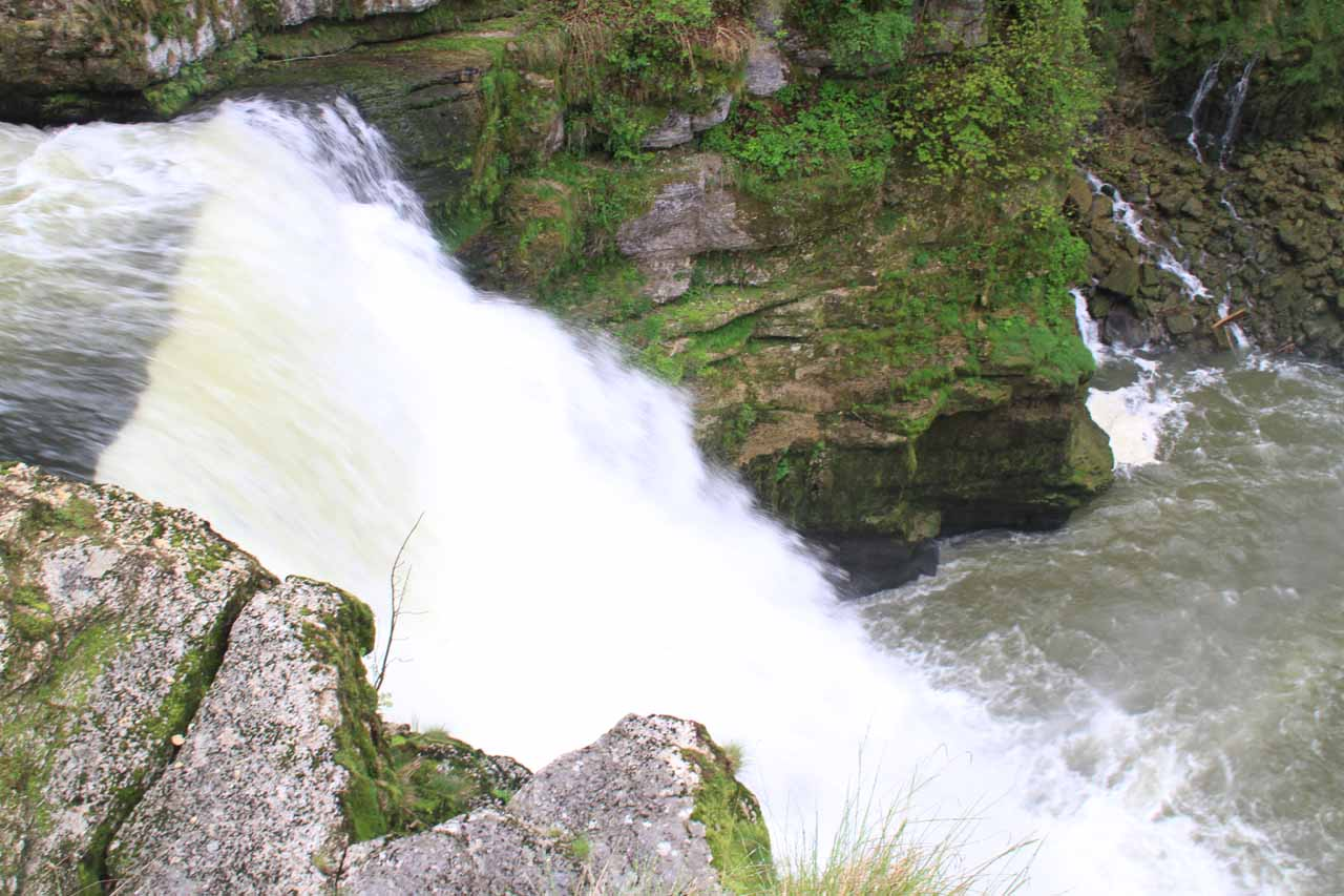 The brink of Saut du Doubs on the Swiss side