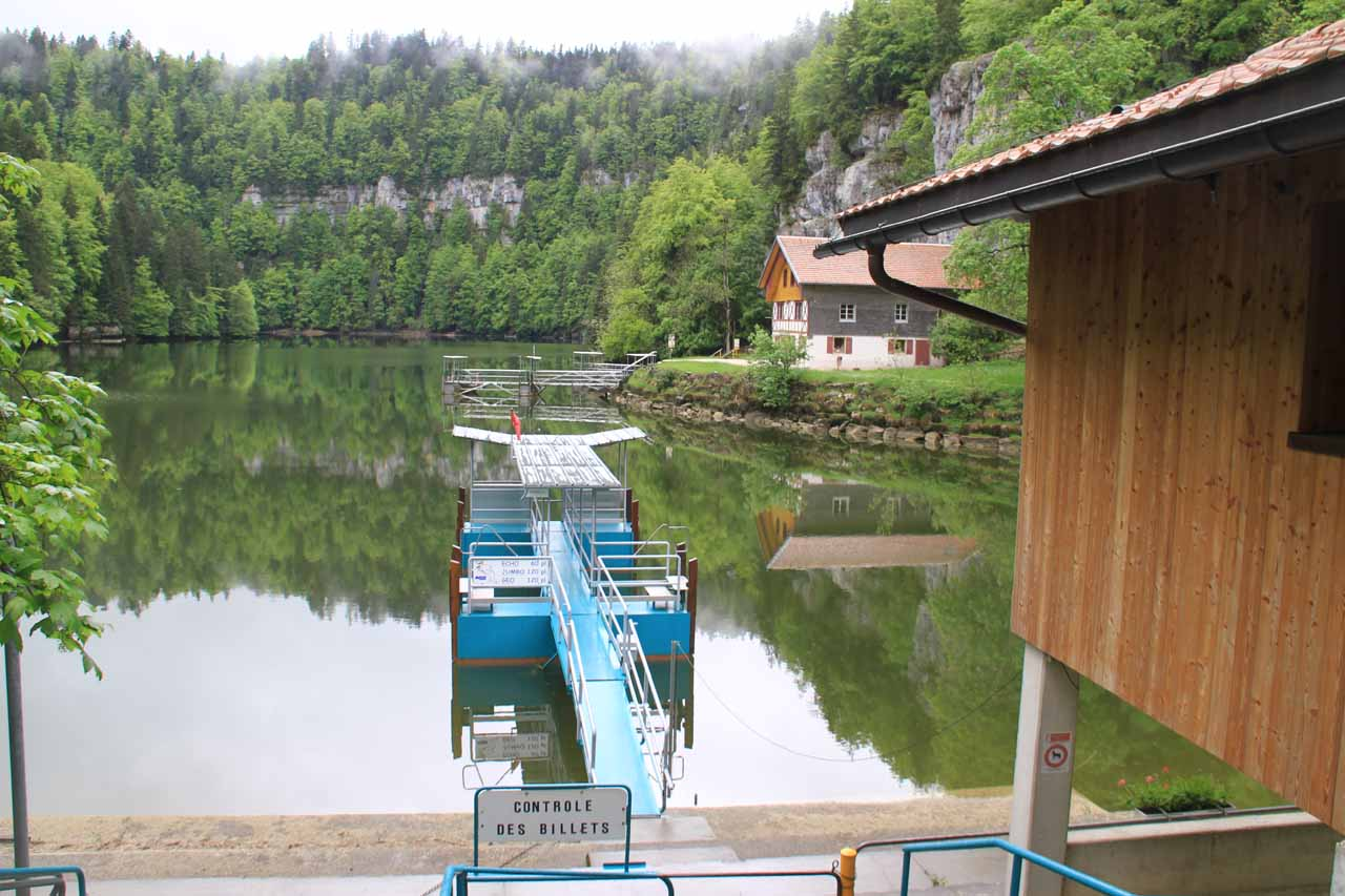 Back at the dock waiting for the boat back to Les Brenets