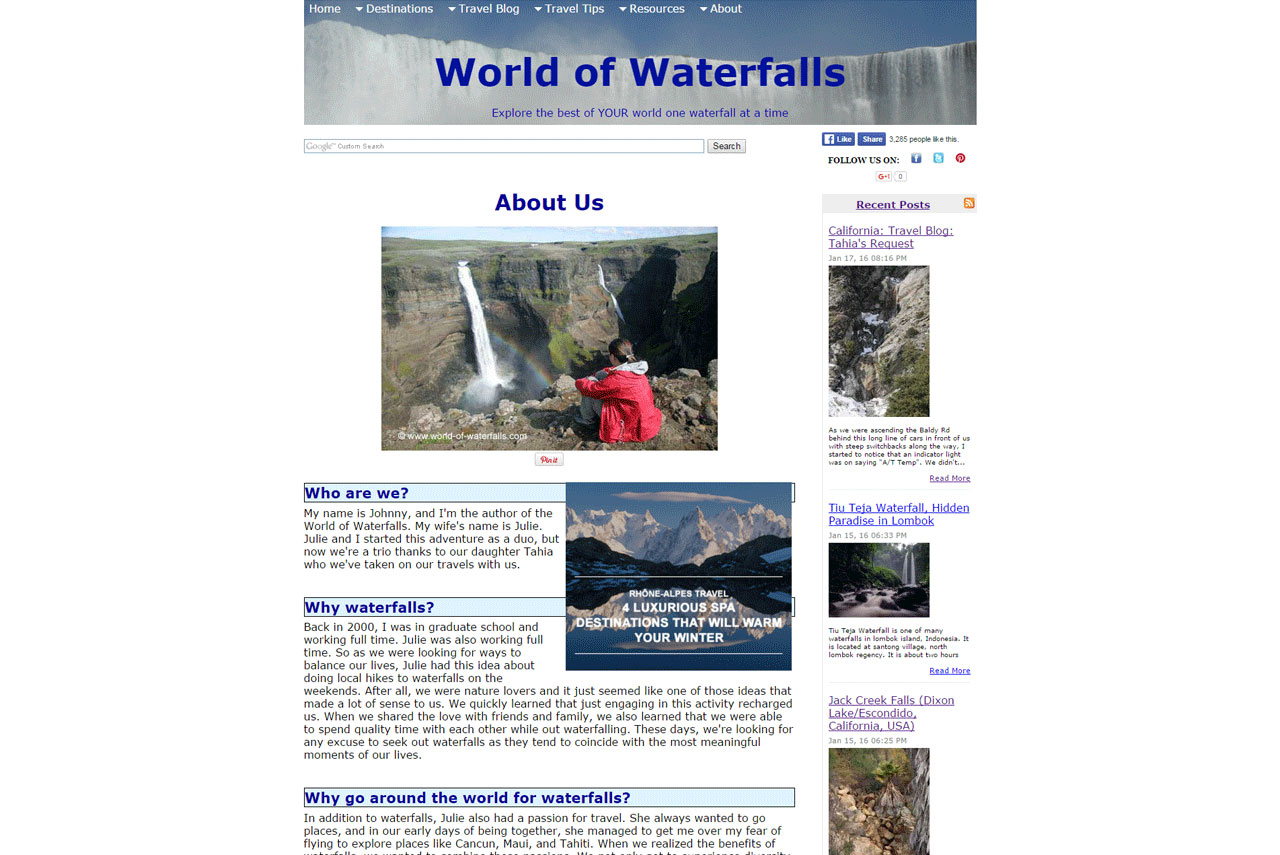 I've had friends look at the World of Waterfalls website when it was hosted on SBI, and they thought it looked very dated