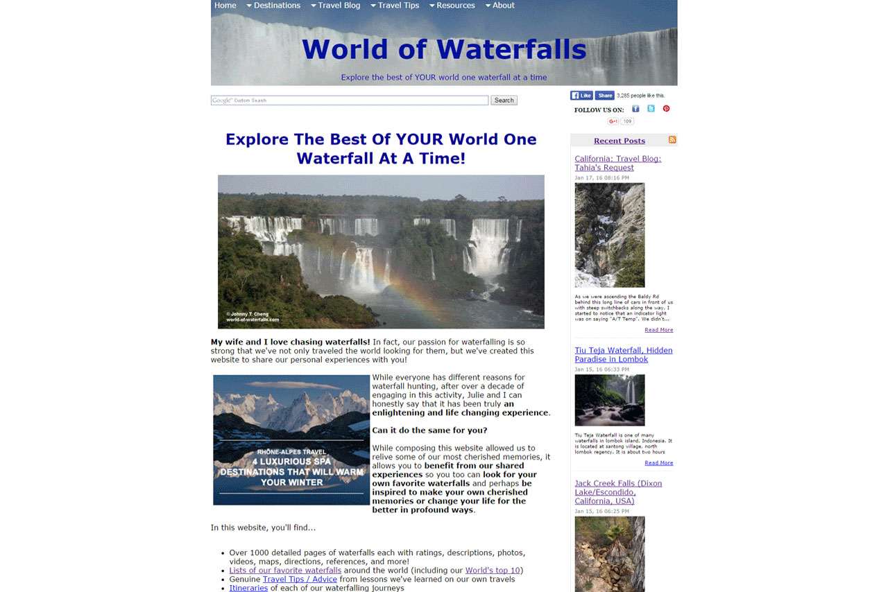 Click the picture to see the full home page of the World of Waterfalls in the year 2016 when it was hosted by Site Build It!