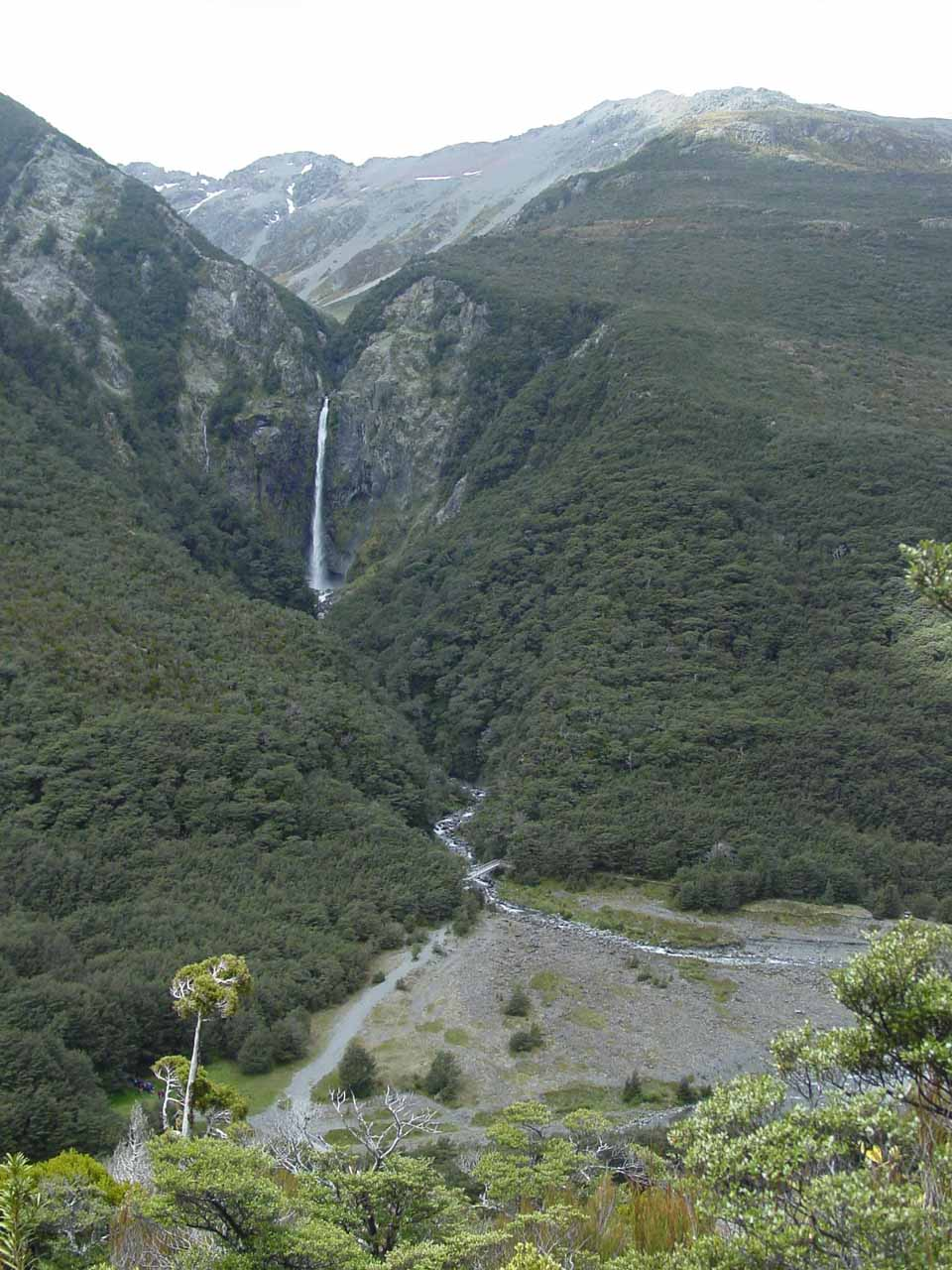 Contextual look across the valley towards Devils Punchbowl Falls and the delta at the mouth of its gorge