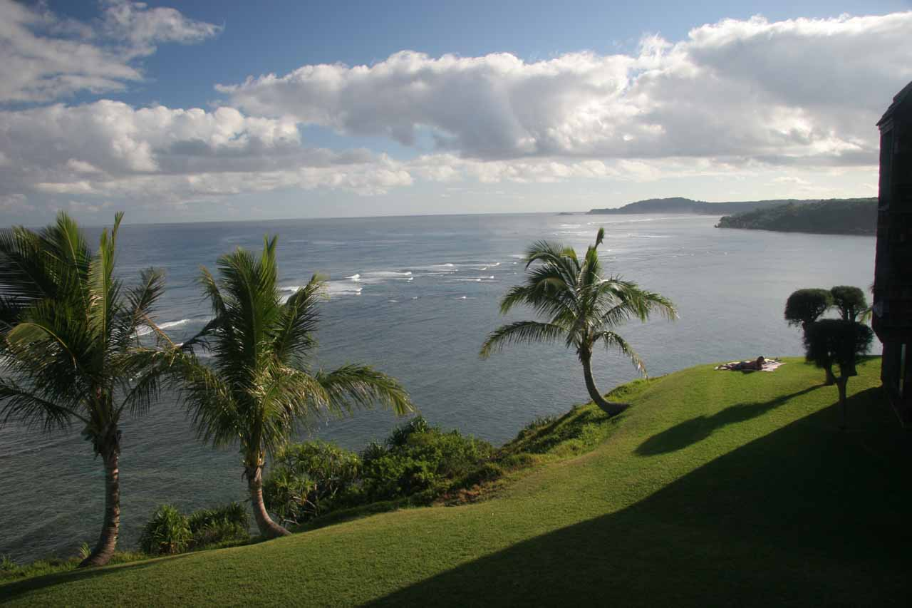 Further to the west of Kalihiwai Falls was the town of Princeville, where we stayed at a nice condo.  This picture is the view out the window of that condo