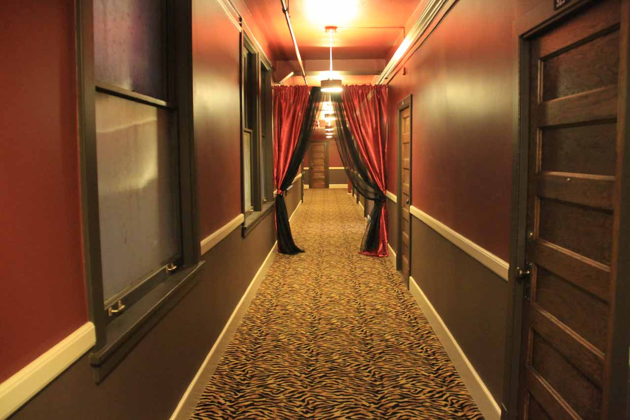 Dark corridor on our floor at the Moore Hotel