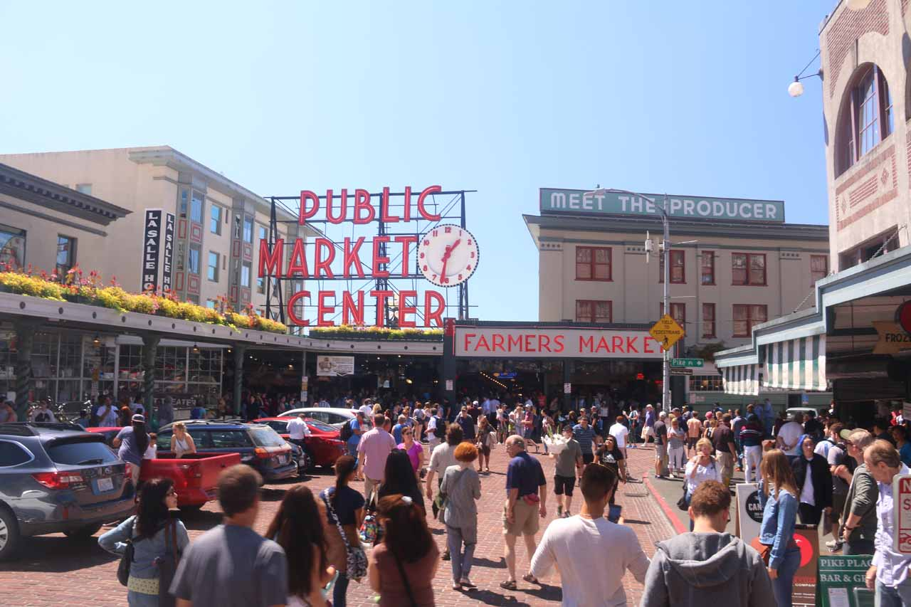 Even though Wallace Falls was closer to Everett, it was still a reasonable day trip from Seattle (Pike's Market shown here)