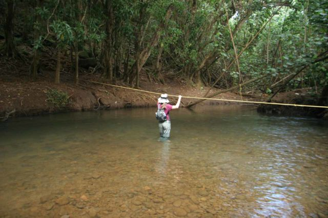 My wife hiking across the river in KEENs, which is an example of how wearing water shoes allowed us to not care about water depth, especially on jungle hikes