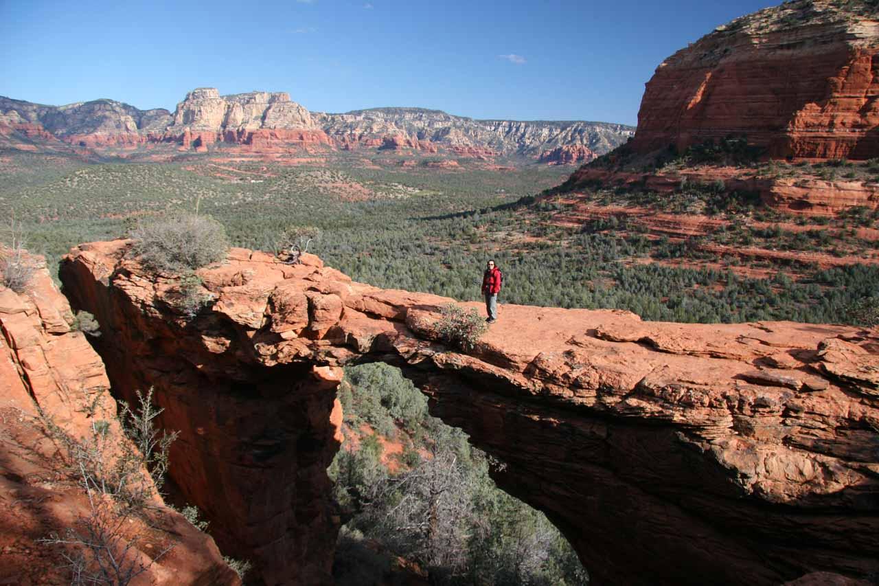Julie atop the Devil's Bridge