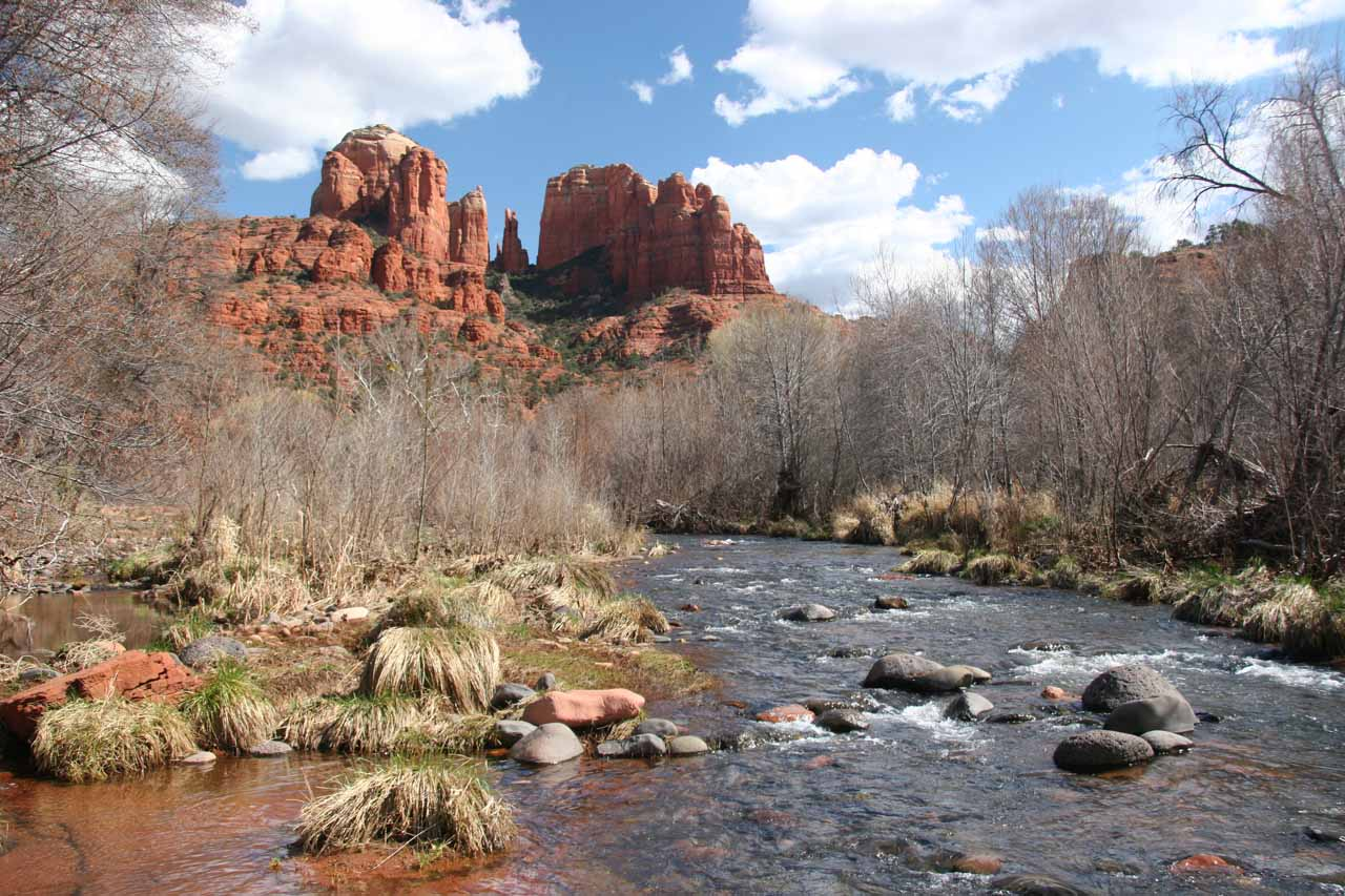 Oak Creek running before the iconic Cathedral Rock