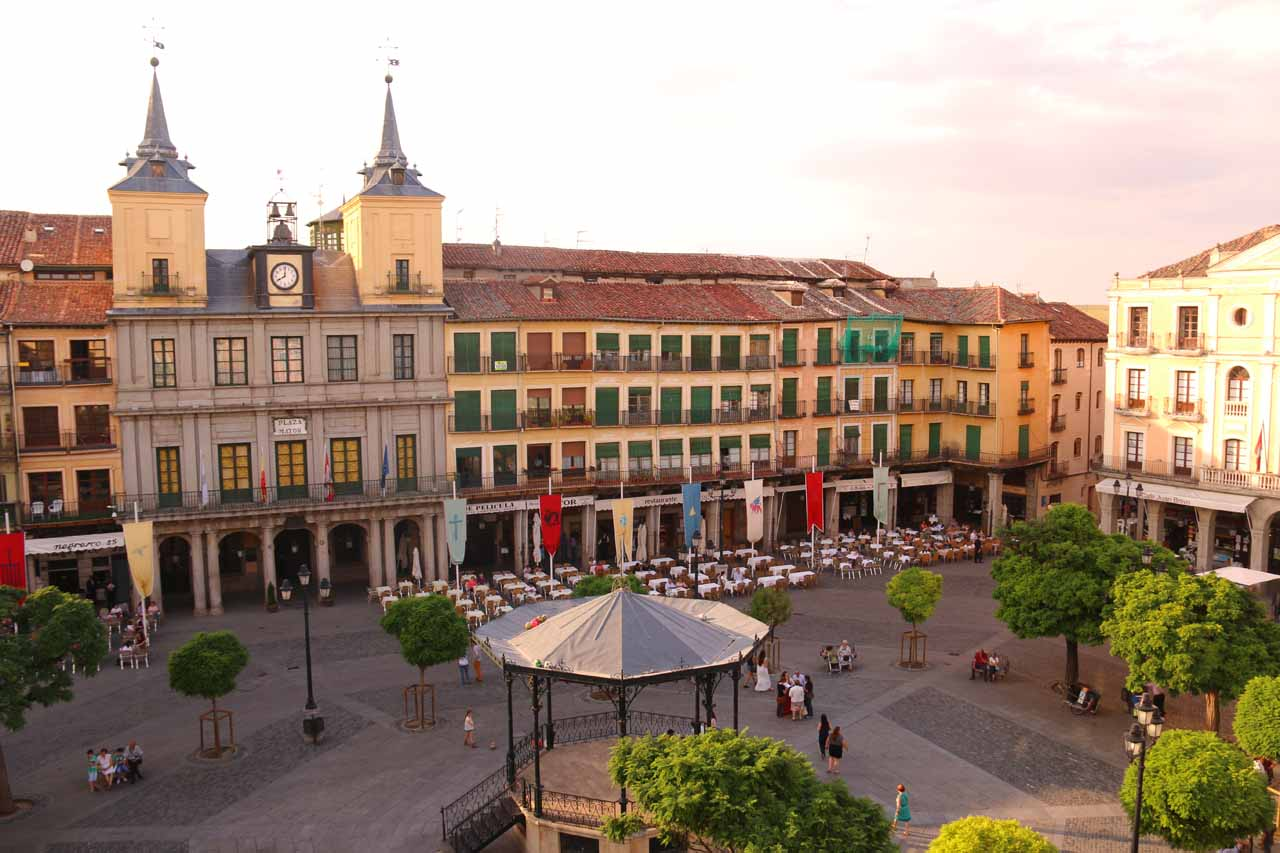 Looking down at the Plaza Mayor from our hotel room in Segovia