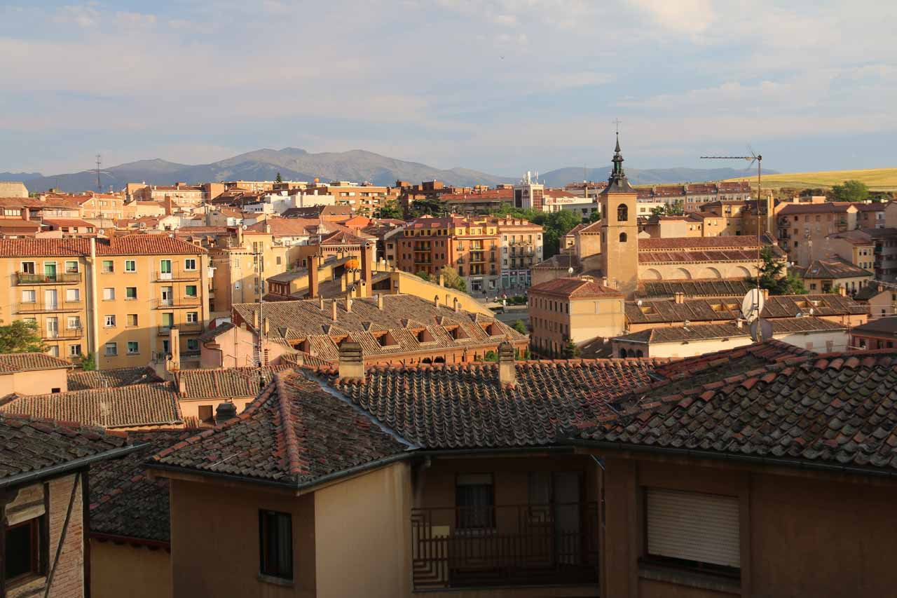 Looking towards parts of Segovia from the old town near Calle de Cervantes