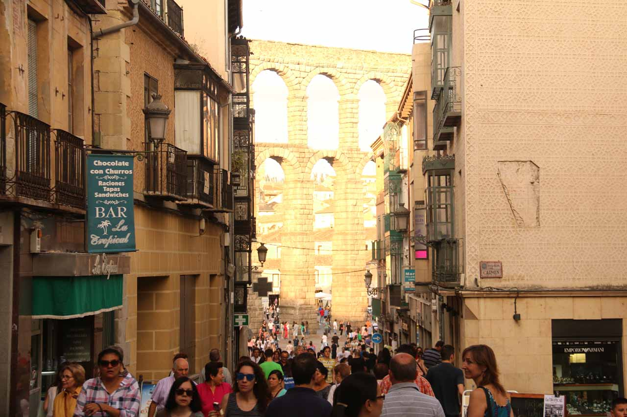 Finally starting to get close to the aqueduct in Segovia