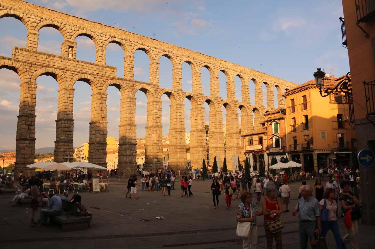 The aqueduct of Segovia in the Plaza del Azoguejo