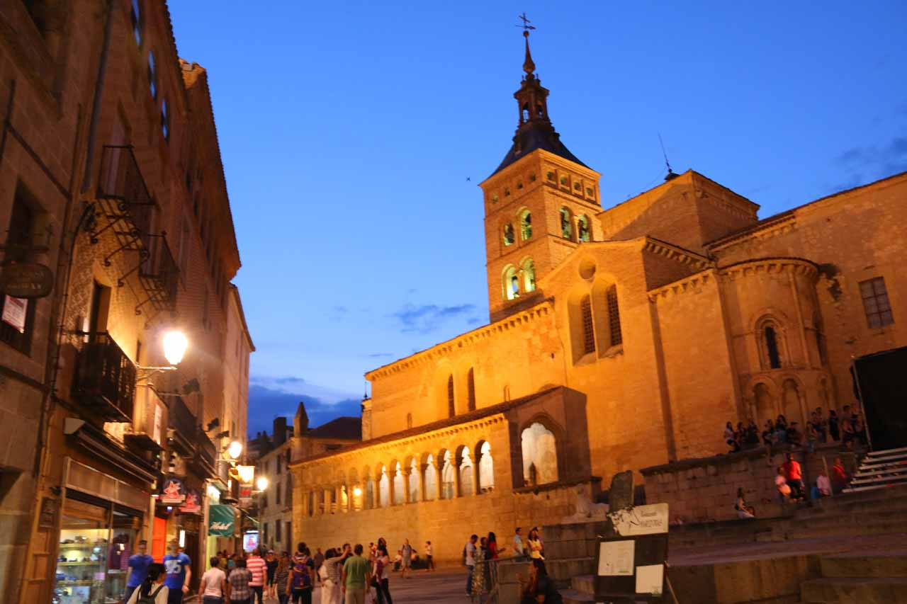 Twilight view of the San Martin Church in Segovia