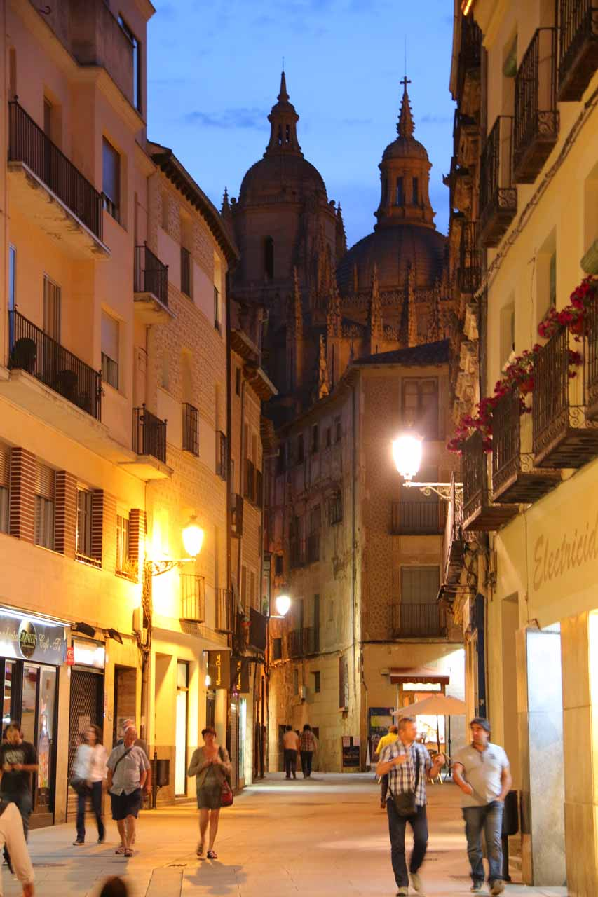 The cathedral up ahead as we got closer to the Plaza Mayor in twilight
