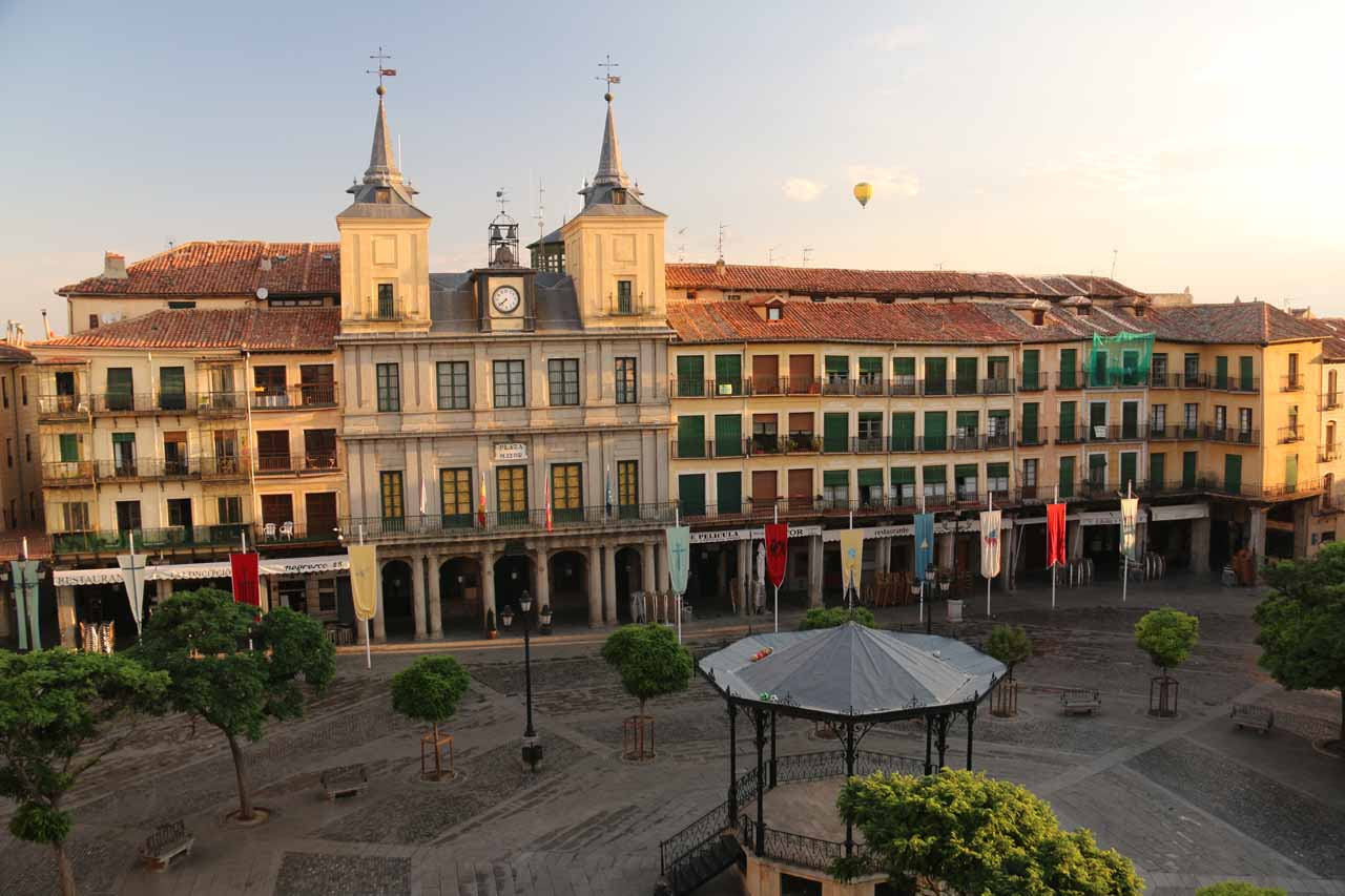 Looking down at the quiet Plaza Mayor from our room while some hot air balloons could be seen hovering above