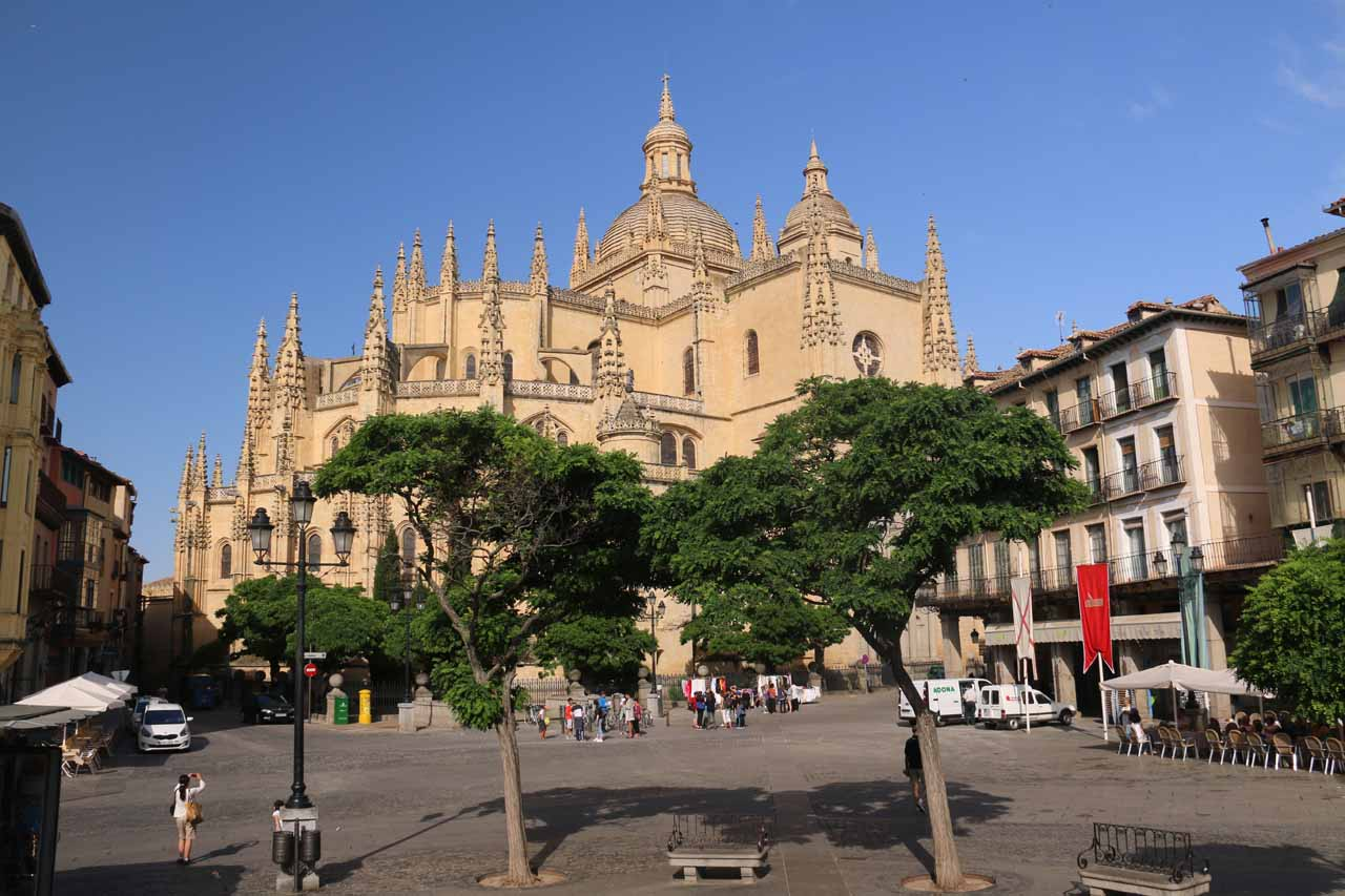 Walking towards then past the cathedral as we made our way towards the Alcazar de Segovia