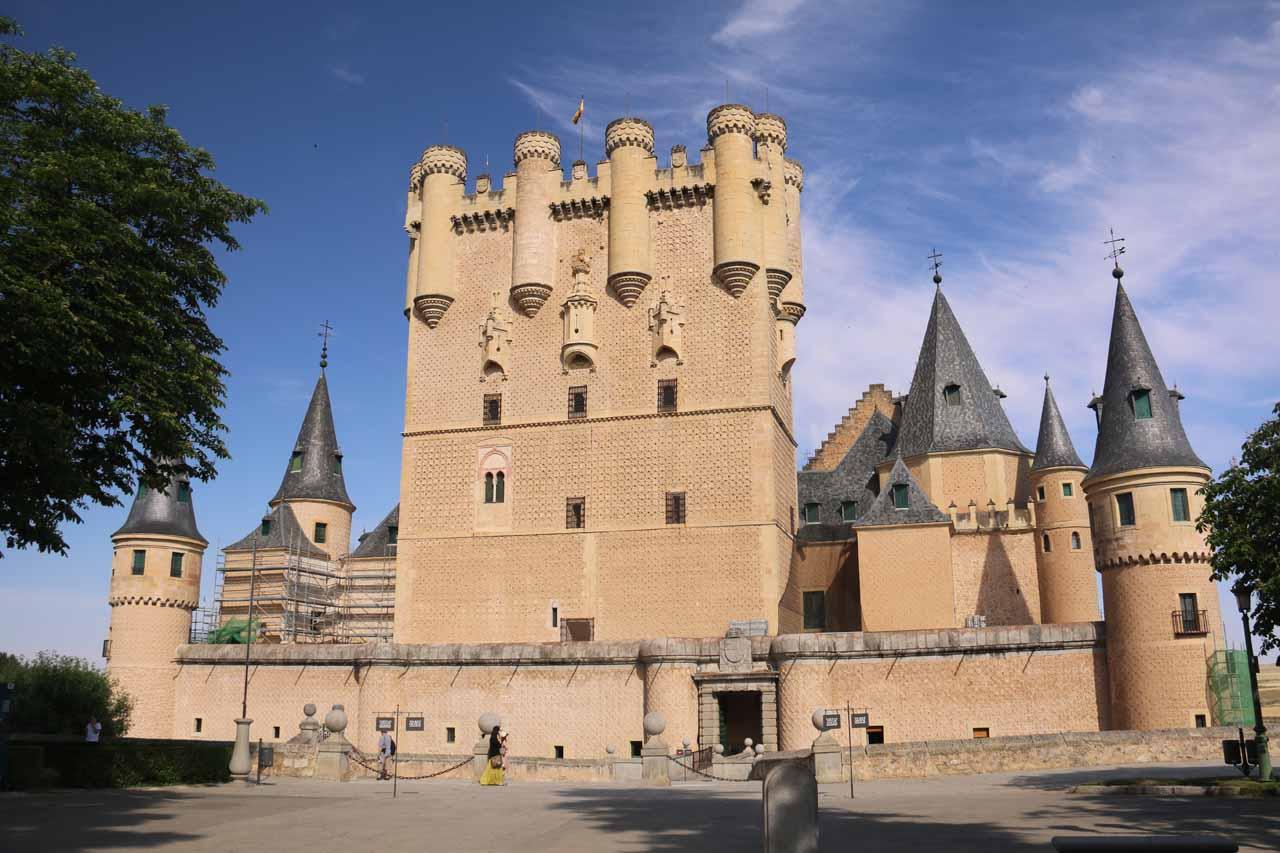 At the entrance to the Alcazar de Segovia