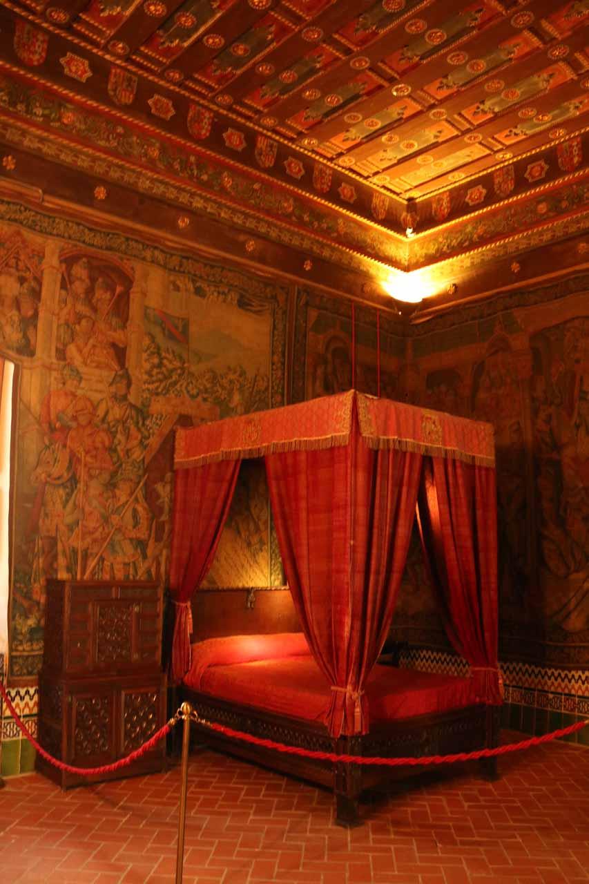 An elaborate bedroom inside the Alcazar
