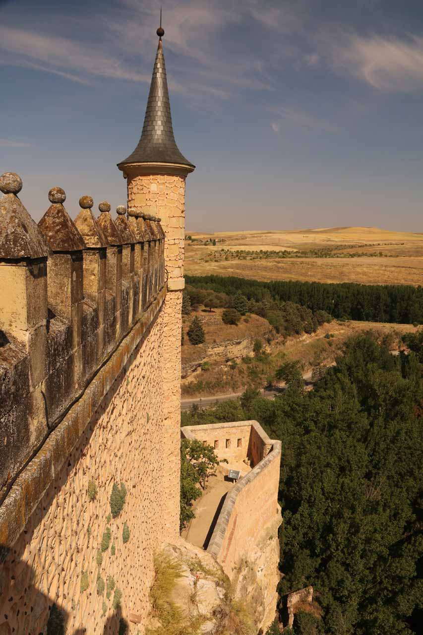 Looking over the impressive turreted towers and castle walls of the Alcazar de Segovia