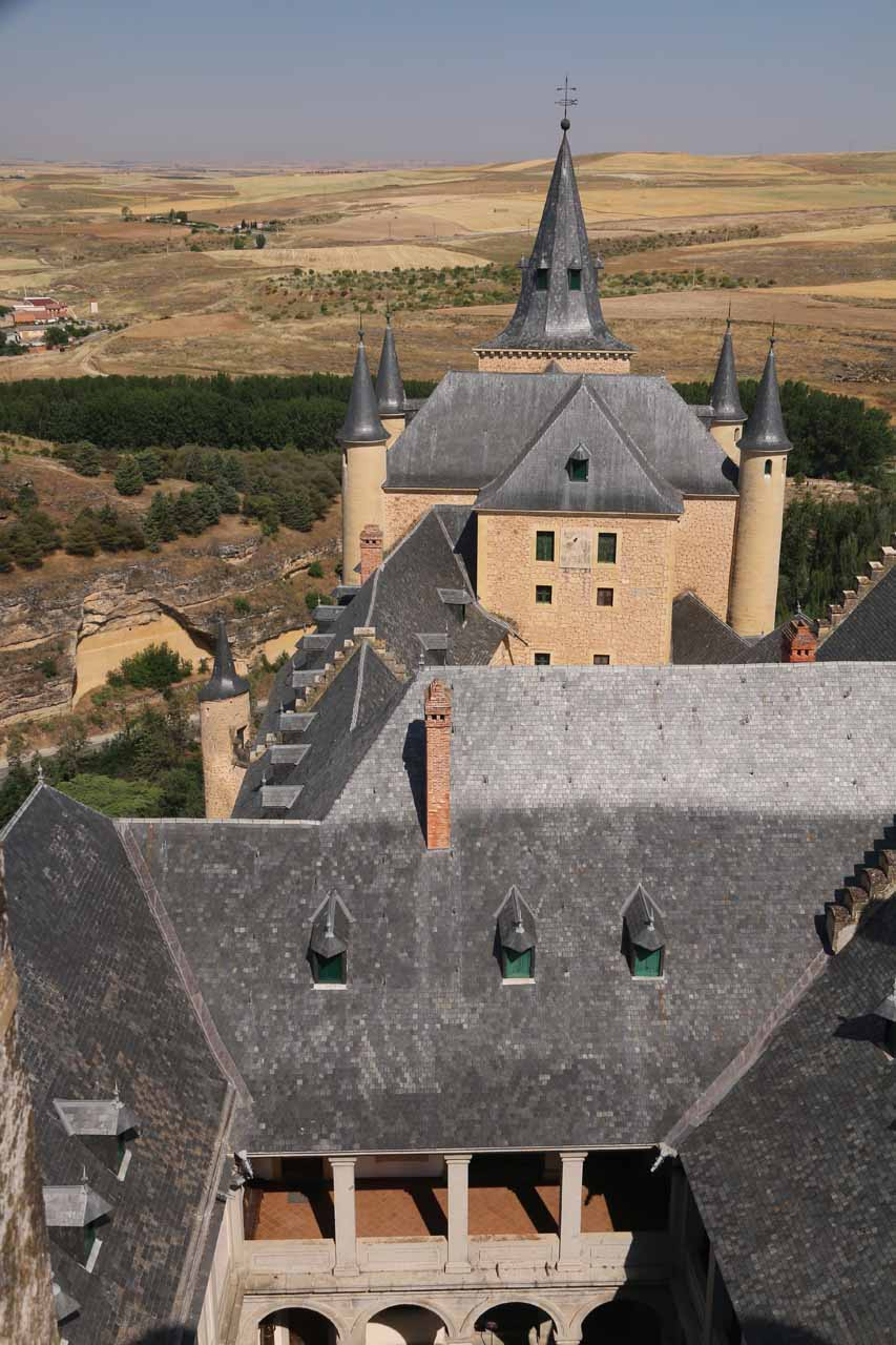 Looking down towards other parts of the Alcazar de Segovia from the top of one of its towers