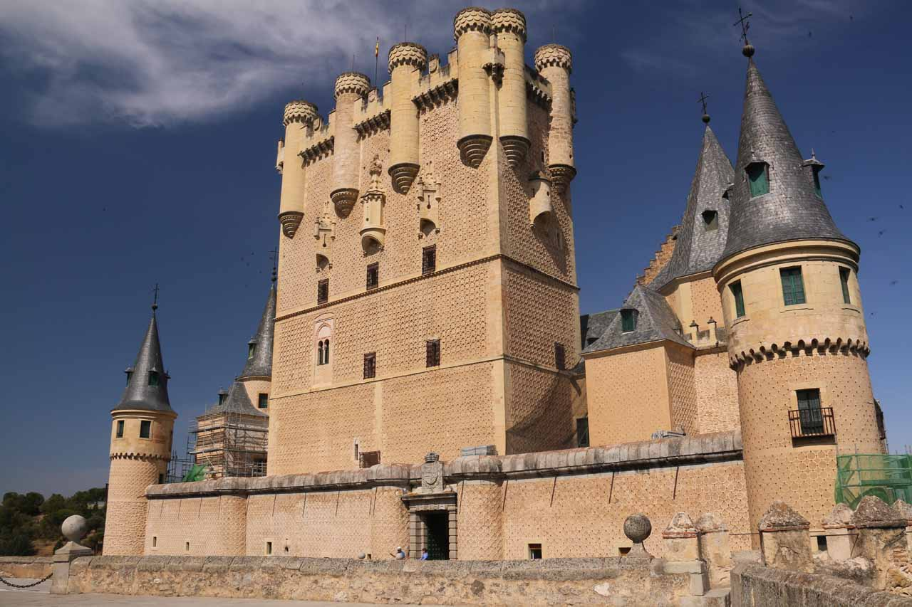 Looking back at the Alcazar de Segovia after the conclusion of our self tour