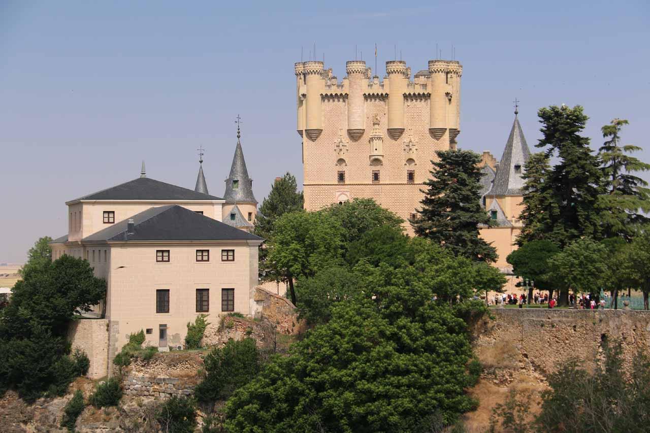 Looking back at the Alcazar de Segovia from the Calle del Socorro