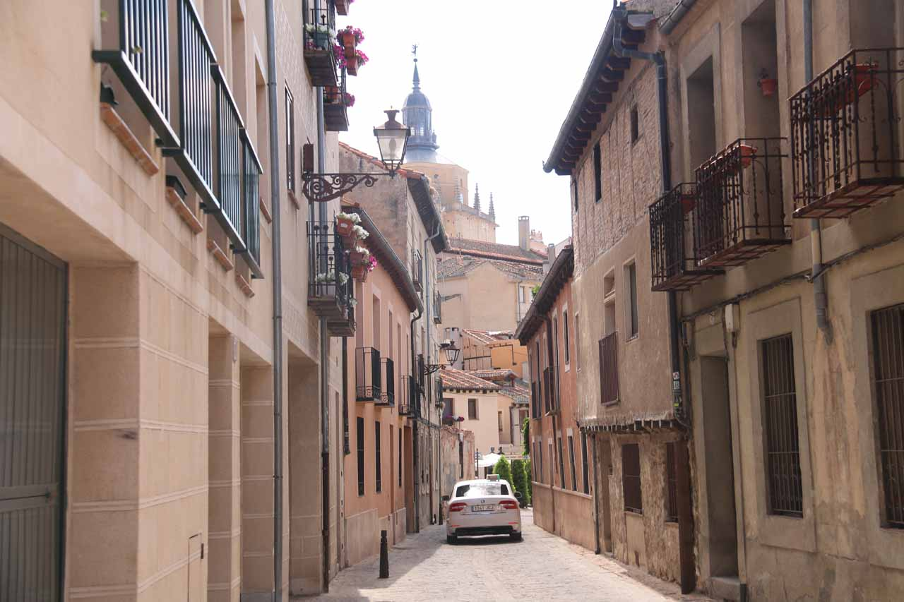 A vehicle passed us and provided this opportunity to show you just how narrow the streets can be in old Spanish towns or historical centers