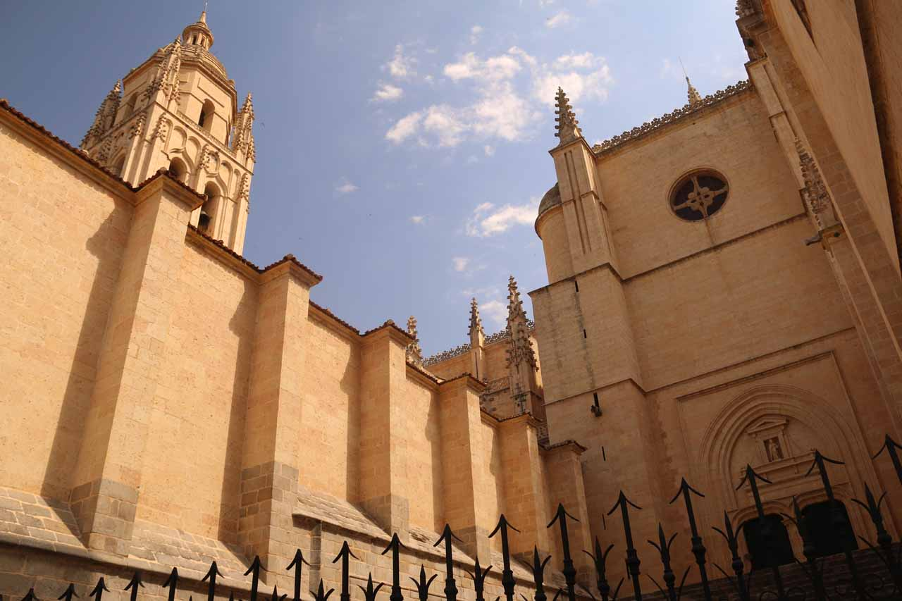 Looking up at the backside of the cathedral of Segovia while still approaching the Plaza Mayor
