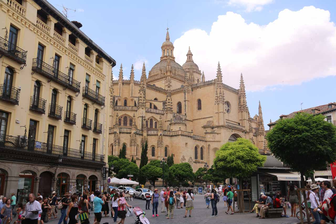 Back in the Plaza Mayor looking back at the Catedral de Segovia as we went looking for a lunch spot in the square