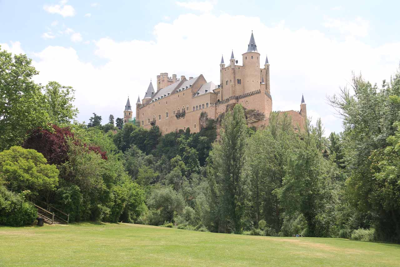 Broad view looking back at the Alcazar de Segovia from the San Marcos Church