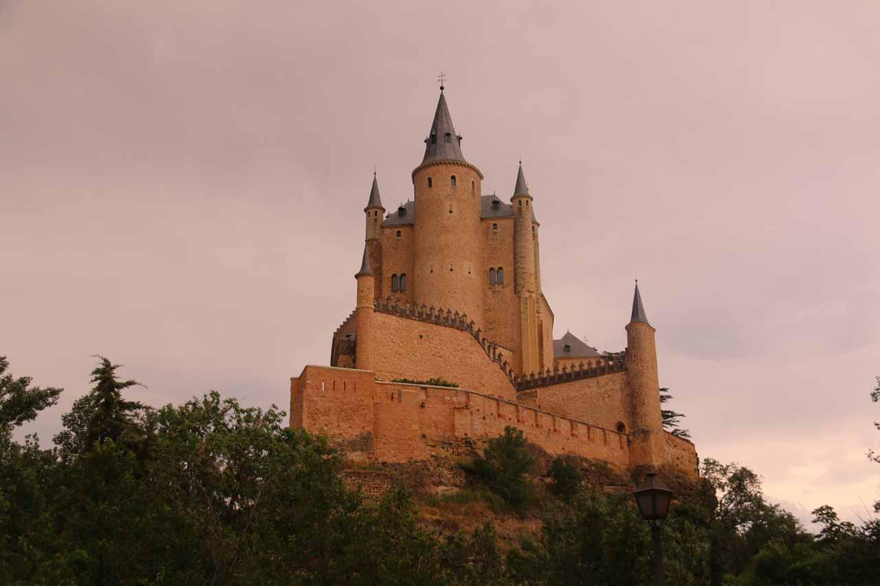 A near sunset view of the backside of the Alcazar de Segovia