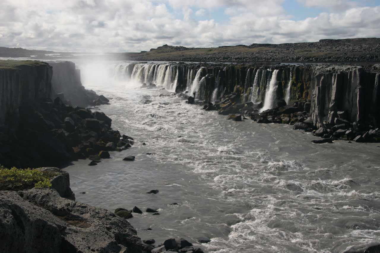 Selfoss showing its length as seen from the East Bank
