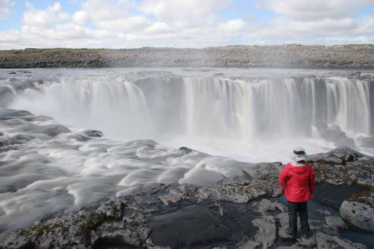 Julie looking into the bowl of Selfoss