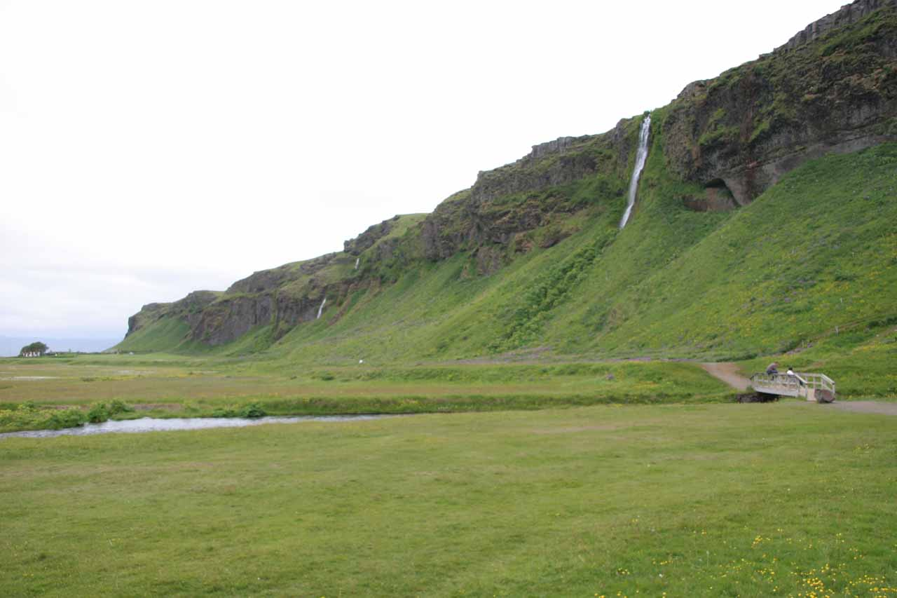View of the other waterfalls nearby Seljalandsfoss