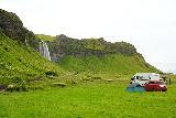 Seljalandsfoss_and-Gljufrabui_095_08072021 - Context of camping and part of Seljalandsfoss in the distance