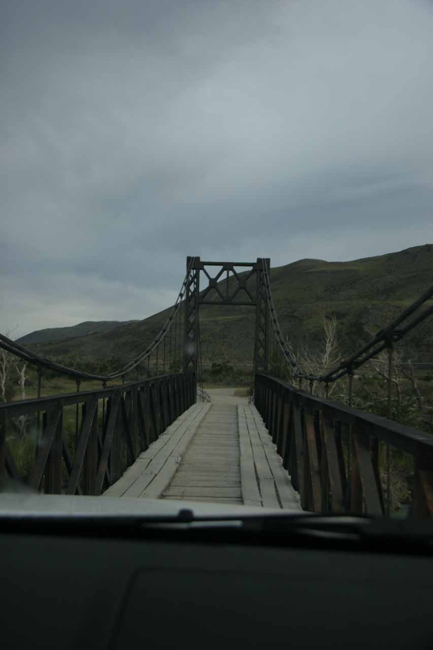 A very narrow bridge we had to cross with our rental truck to get to Hosteria Las Torres