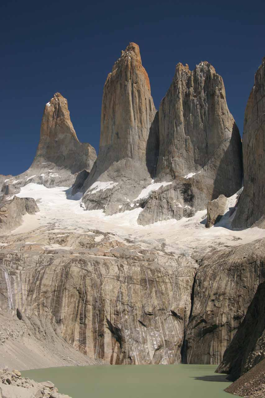 Full context of the glacier-fed streaks beneath Las Torres del Paine