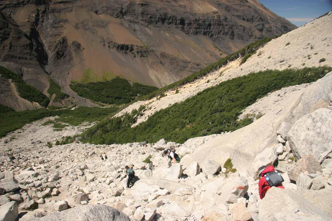 Context of the long boulder scramble descent ahead of us