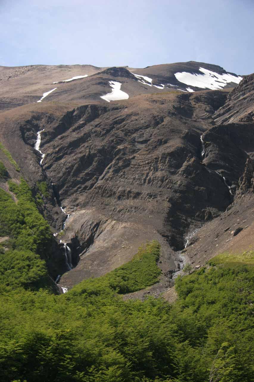 Two cascades seen side by side
