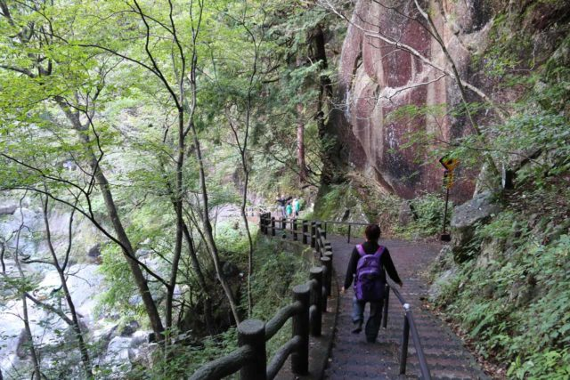 Senga_Falls_015_10172016 - Mom descending the steps that were below the village and leading us into the depths of the Shosenkyo Gorge