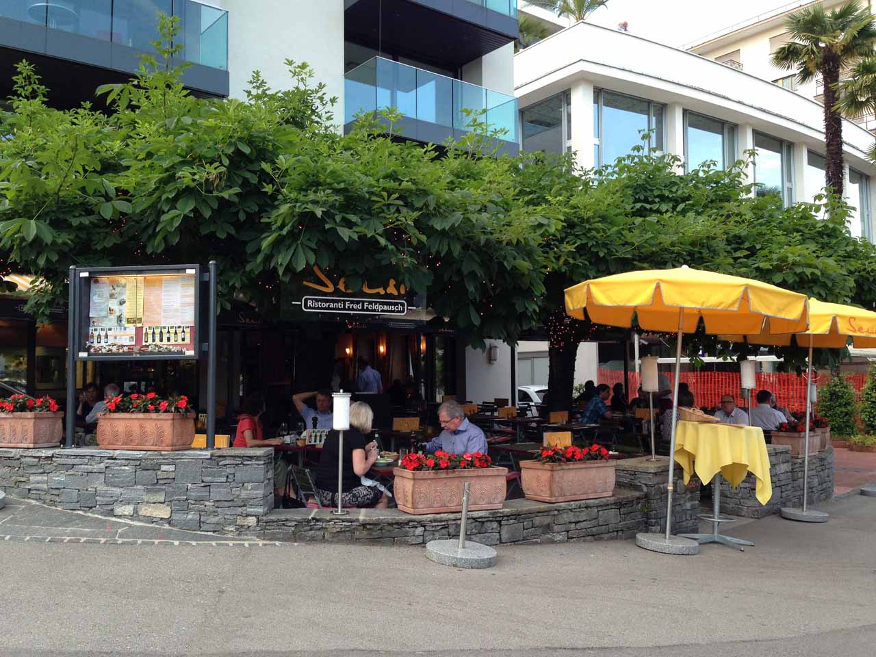 Outdoor dining at Sensi in Locarno