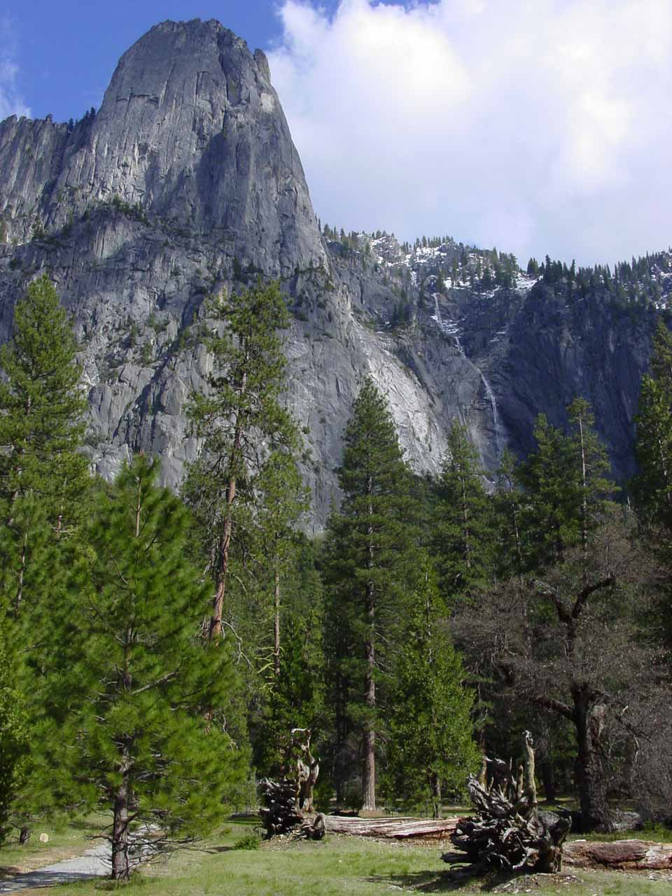 This photo of Sentinel Rock and Sentinel Falls was taken in early May 2003