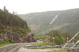 Setesdal_016_06192019 - The familiar view of Kallefossen from a pullout by a bridge along the Rv9 under some mistier weather in June 2019