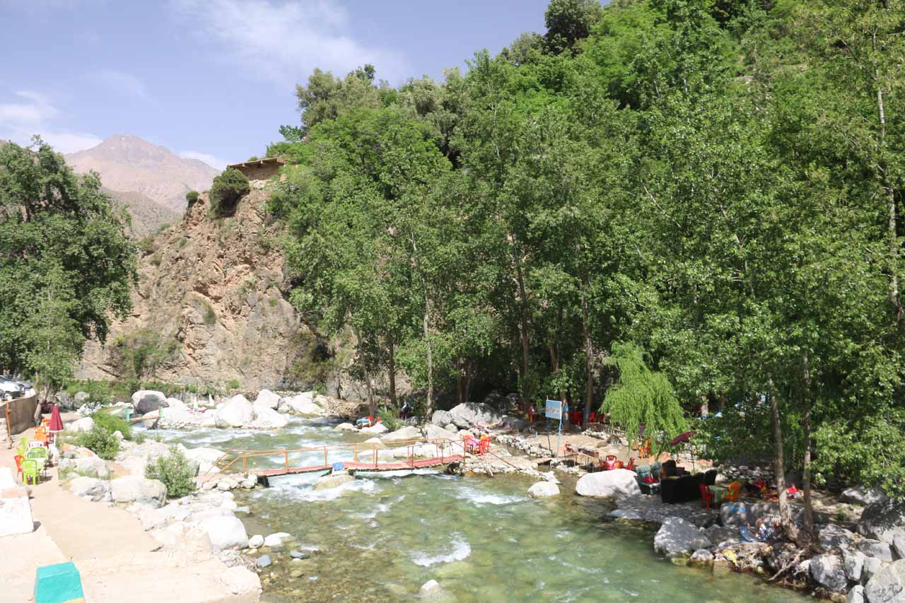 The fast flowing river passing through Ourika Valley