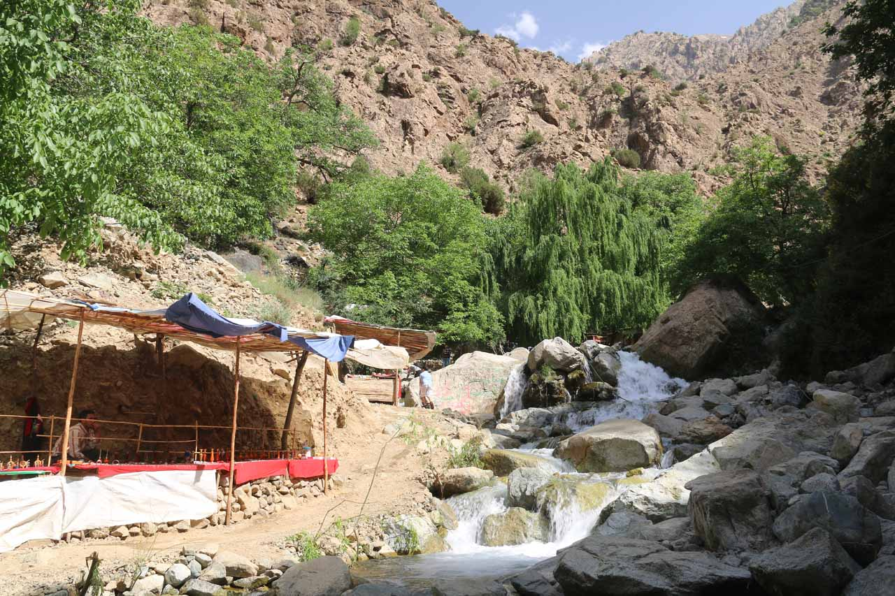 One of the souks set up alongside this cascade and stream crossing