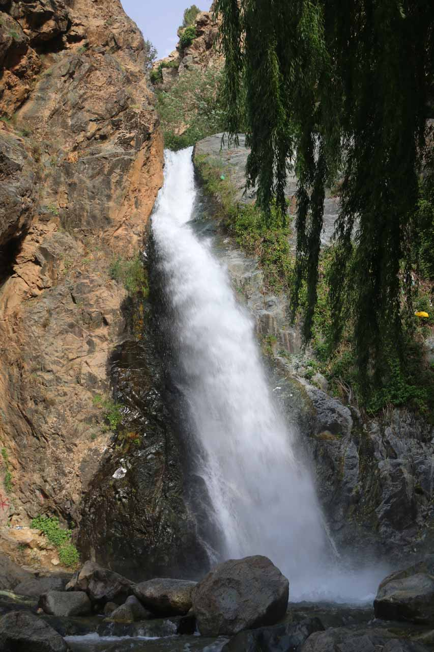 Direct look at what I think is the first of seven Setti Fatma Waterfalls gushing towards the rest of Ourika Valley