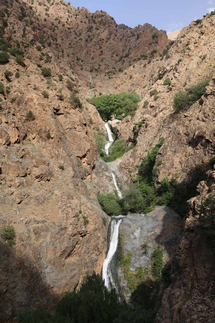 Looking down at the multiple tiers of the Setti Fatma Waterfalls