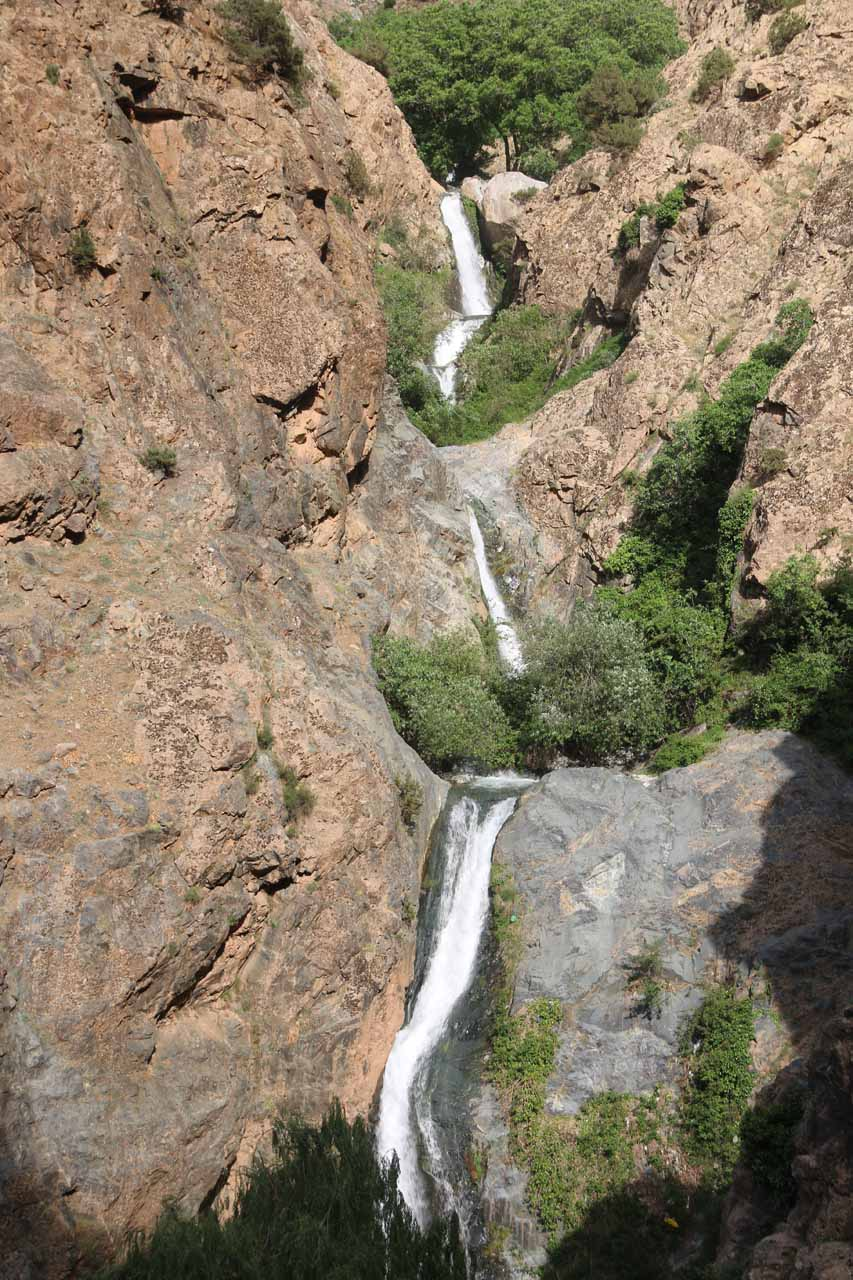 Looking down at the trio of Setti Fatma Waterfalls from the lookout at my turnaround point
