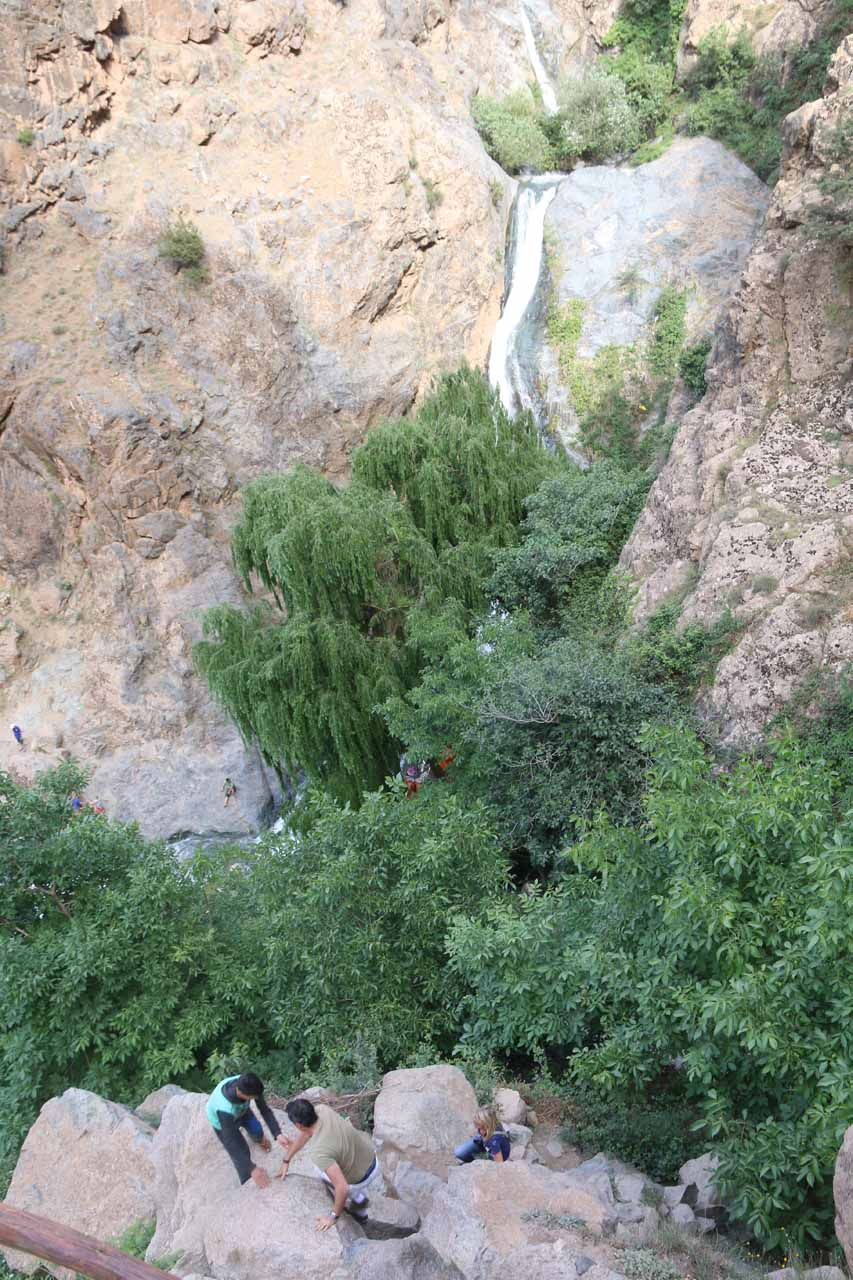 Looking down at a few other intrepid tourists making the steep climb towards the lookout as well as the upper tiers of the Setti Fatma Waterfalls